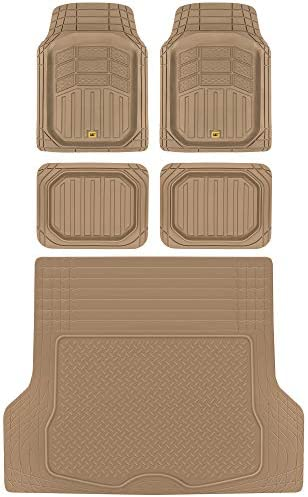 BDK Caterpillar CAMT-9014 (4-Piece) Large Deep Dish Rubber Car Floor Mats with Trunk Cargo Liner, Universal Trim to Fit Front & Rear Combo Set for Car Sedan SUV Van, Heavy Duty All Weather