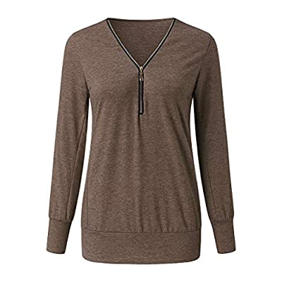 Meikosks Ladies V Neck Zipper T Shirt Long Sleeved Tops Solid Color Blouses Plus Size Pullover: Clothing