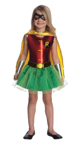 Tutu Robin Girls Costumes (Justice League Child's Robin Tutu Dress - Small)