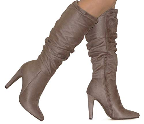 MVE Shoes Women's Pointed Knee-high Heeled Boots, Every Taupe ISU 8
