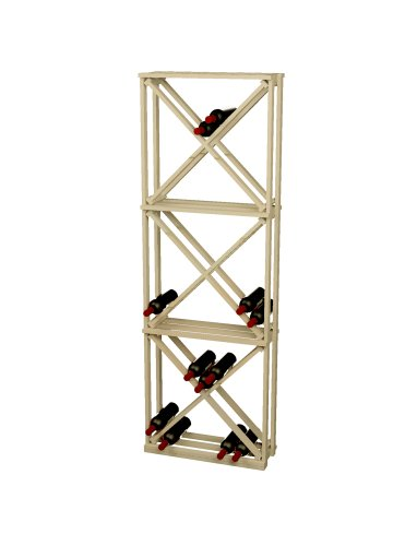 Wine Cellar Innovations Rustic Pine Open Diamond Cube Wine Rack for 132 Wine Bottles, Unstained