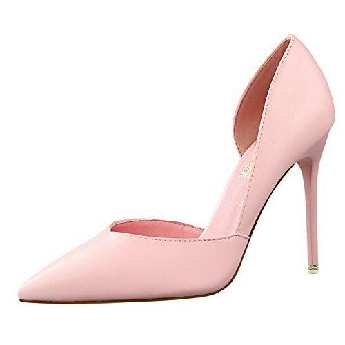 Aalardom Womens Spikar-stilettos Spetsiga Tå Pådrags Fasta Pumpar-skor Rosa-gänga