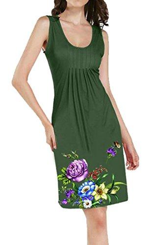 Femmes Cromoncent Sundresses Taille Plus Imprimé Fleur Plissée Vert Tenue Décontractée