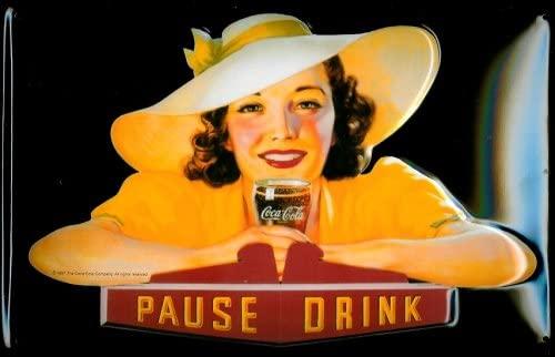 Buddel-Bini Versand Cartel de Chapa nostálgico Coca Cola Pause Drink Lady Coca Cola Retro Cartel Publicidad