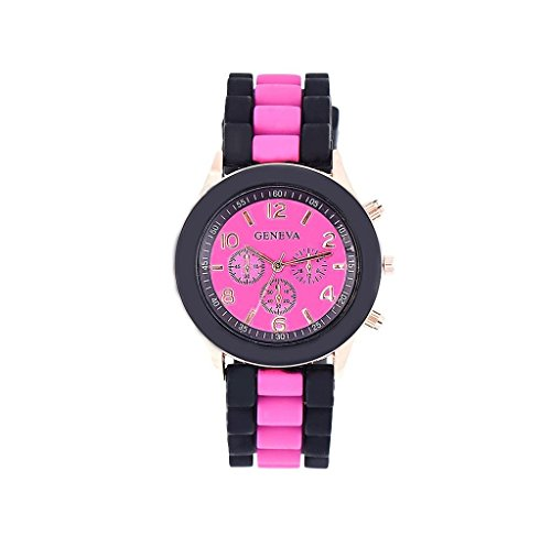 Mandy Silicone Jelly Gel Quartz Analog Sports Wrist Watch Hot pink - Pink Quartz Jelly