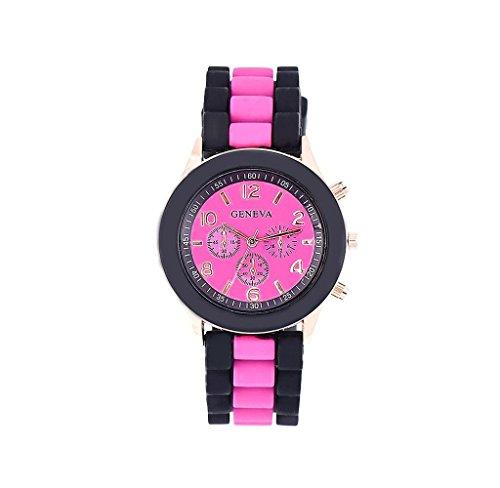 Mandy Silicone Jelly Gel Quartz Analog Sports Wrist Watch Hot pink - Pink Quartz Jelly