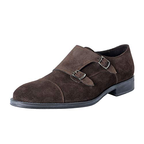 A Testoni Suede Oxfords - A. Testoni Basic Men's Suede Brown Double Buckle Up Derby Shoes US 9 IT 42