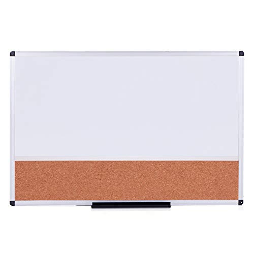 (VIZ-PRO Magnetic Dry Erase Board and Cork Notice Board Combination, 36 X 24 Inches, White Bulletin Board for School Office and Home)