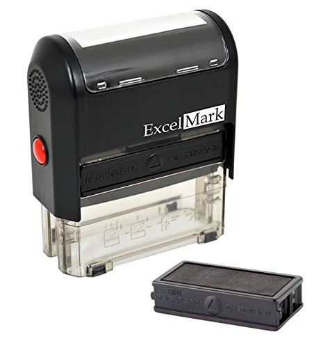 Self Inking Rubber Stamp with up To 4 Lines of Custom Text (42A1848) (Custom Stamp with Additional Replacement Stamp Pad)