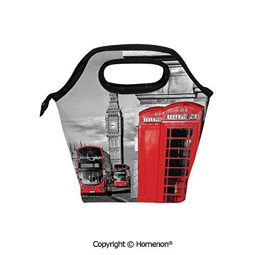 London Quilted Handbag - Insulated Neoprene Soft Lunch Bag Tote Handbag lunchbox,3d prited with London Telephone Booth in the Street Traditional Local Cultural Icon England UK Retro,For School work Office Kids Lunch Box & Foo