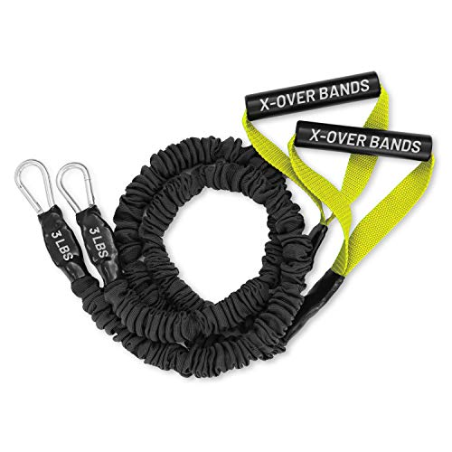 FitCord X-Over Resistance Bands - Premium Exercise Cords for Crossfit, Shoulder & Arm Care, Muscle Performace, Sports, Rehab Workouts - 1 Pair - 3lbs - Yellow
