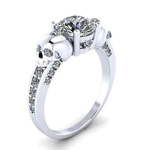 14K White Gold Fn Simulated Diamond Studded Fashion Skull Ring Womens Jewellery
