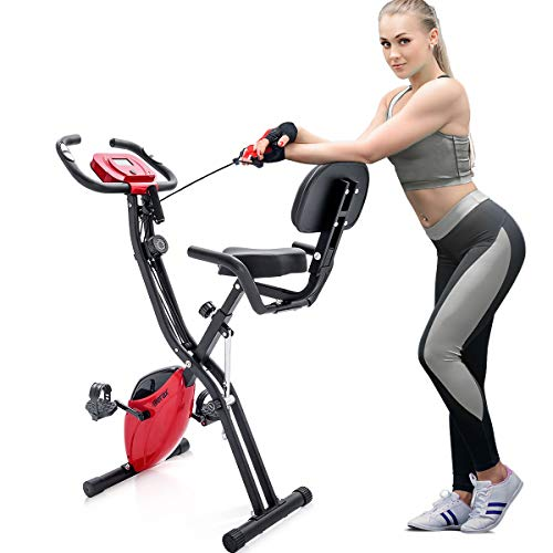 Merax 3 in 1 Adjustable Folding Exercise Bike Convertible Magnetic Upright Recumbent Bike with Arm Bands