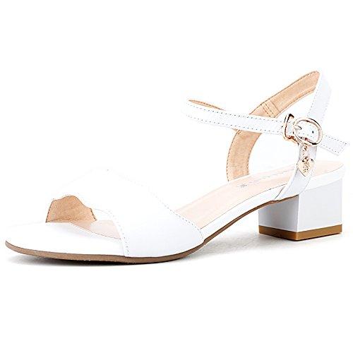 金銭的考え沼地XIAOLIN 女性の靴サンダル女性の夏の粗いヒールレザーファッションワイルドミドルヒールレディースシューズ(オプションのサイズ) (色 : 02, サイズ さいず : EU36/UK4/CN36)