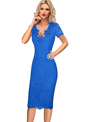Blue Crochet Flower (Vfemage Womens Sexy Elegant 3D Crochet Flower Lace Party Bodycon Dress 4686 BLU 18)