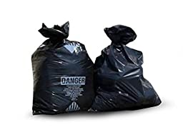 (Ship from USA) 6 Mil Black 33x50 Printed Asbestos Bags 75/roll