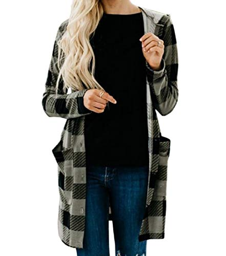 (Comaba Women Cardigan Hooded Fall Winter Patterned Plaid Duffle Coat Green XS)