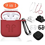 AirPods Case Red,9 in 1 Airpods Accessories Kits Protective Silicone Cover and Skin Compatible for Apple Earpods with Airpods Watch Band Holder/Ear Hook/Anti-Lost Stap/Clip/Keychain/Grip