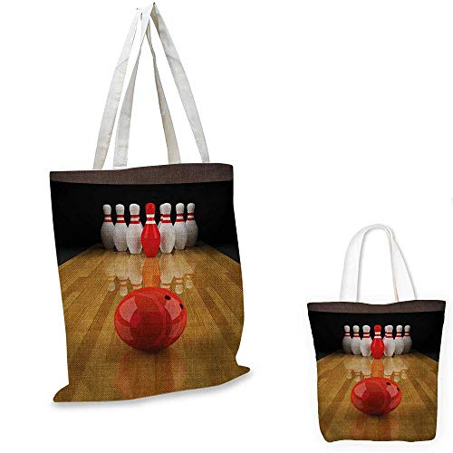 Bowling Party canvas laptop bag Alley with Red Skittle in Center Target Score Winning Competition canvas tote bag with pockets Pale Brown Red White. 12