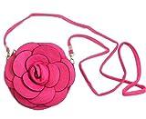 New Leather Cross Body Round Bag w/ Flower 7'' (Fuchsia)