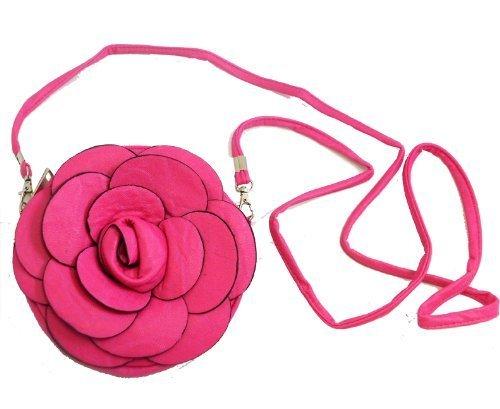 dy Round Bag w/ Flower 7'' (Fuchsia) (Gucci Brown Hobo)