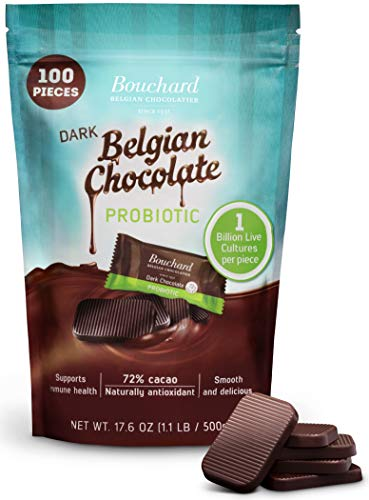Bouchard Belgian Dark Chocolate Gluten-Free 72 % Cacao with Probiotics (100 Pieces)