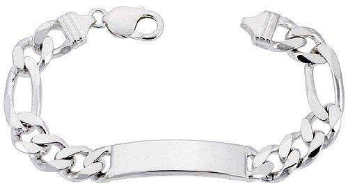 Sterling Silver Italian ID Bracelet Figaro Link 3/8 inch wide NICKEL FREE, 8 inch