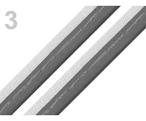 2m 3 Charcoal Gray Reflective Insertion Piping Width 10mm, Bias Binding, Bias, Trimming Ribbons, Folk Ribbons and, Haberdashery ()