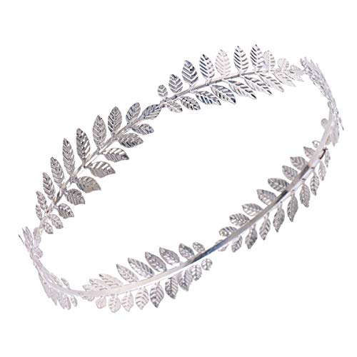 RIVERTREE Roman Emperor Crown Laurel Wreath Silver Leaf Headband Costume Party Accessory Caesar Circlet - Leaf Costume Circlet