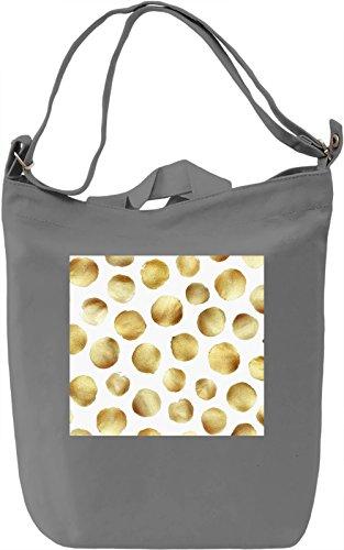 Golden Dots Print Borsa Giornaliera Canvas Canvas Day Bag| 100% Premium Cotton Canvas| DTG Printing|