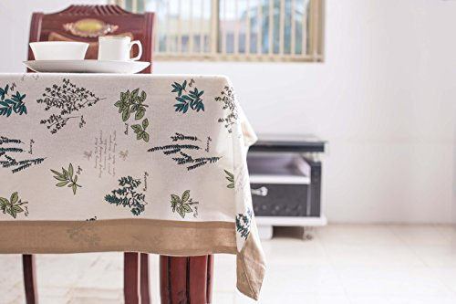 Mayfair Linen 100% Cotton Tablecloth Designer Collection Designed in France (60''x120'', Basil) (Tables Mayfair)