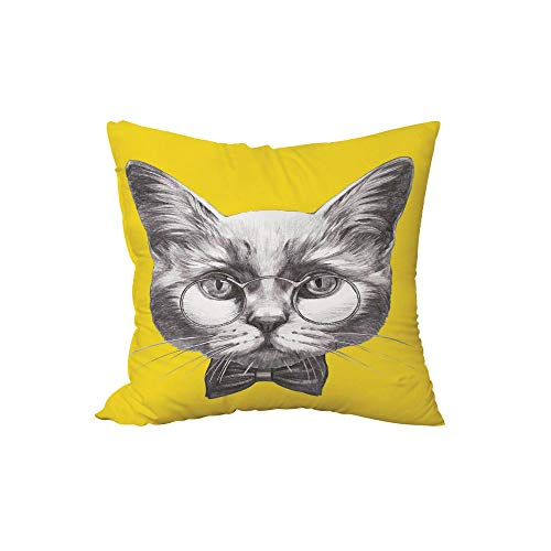 (iPrint Polyester Throw Pillow Cushion,Animal,Hand Drawn Portrait of Cute Cat with Glasses and Bow Tie Sketch Hipster Print,Yellow Grey White,17.7x17.7Inches,for Sofa Bedroom Car Decorate)
