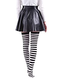 HDE Women\'s Plus Size Striped Stockings Thigh High Over the Knee OTK Sheer Nylons (Black White Stripes)