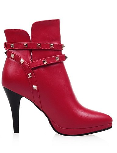 Semicuero us5 Negro Tacón Puntiagudos Rojo Vestido Black Uk7 La Casual Zapatos Plataforma Eu35 Eu40 Red Uk3 A Botas Mujer De Xzz us9 Stiletto Cn34 Moda Cn41 qB6On