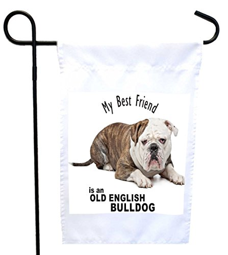 Rikki Knight My Best Friend is a Old English Bulldog Dog House or Garden Flag, 12 x 18-Inch Flag Size with 11 x 11-Inch Image Review