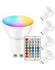 iLC LED GU10 kleur veranderende lamp, LED spots peer reflectorlamp, 5W dimbaar warm wit (2700K) RGB 40W halogeenlampen, (4 stuks)