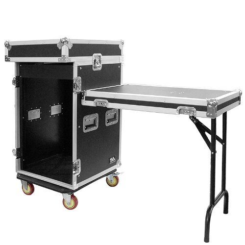 Seismic Audio - SAMRWT-16U - 16 Space Rack Case with 10 Space Slant Mixer Top and DJ Work Table - PA/DJ Pro Audio Road Case - 16U