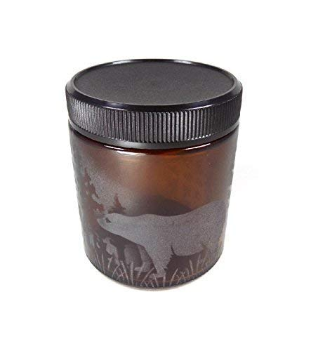 IncisoArt Hand Etched Decorative Jar Permanently Sandblasted (Sand Carved) Glass Handmade Custom Canister Screw-Top Lid (4 Ounce, Amber Bear Forest Mountain)