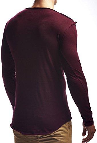 Leif Sweatshirt Rond Nelson Sweater Longsleeve Manche Pour Oversize Hoodie Ln6322 Longue Bordeaux Des Basic Hoody Pullover Col Shirt Hommes 44d0rvxw