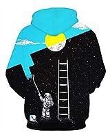 GLUDEAR Unisex 3D Animals Patterns Print Sports Pullover Fashion Hoodie Hooded Sweatshirts,Space Astronaut,S/M