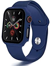 2 in 1 Silicone Watch Band & Protective Case With Tempered Glass Size 44 MM For Apple watch Series 4/5/6 - Dark Blue
