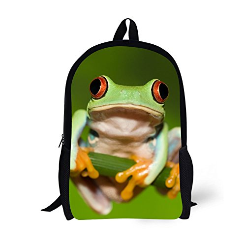 - Children School Backpacks Age6-16 Polyester 17 Inch Animal School Bag (Tree Frogs 1)