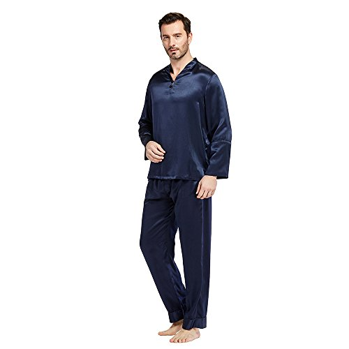 LILYSILK Silk Pajamas Set for Men Summer 22 momme Most Comfortable SleepwearNavy Blue XXXL by LilySilk