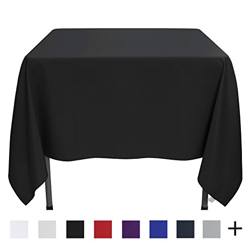 Remedios 70-inch Square Polyester Tablecloth Table Cover - Wedding Restaurant Party Banquet Decoration, Black