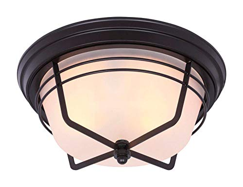 Westinghouse Lighting 6230300 Bonneville Two-Light Exterior Flush-Mount Fixture, Weathered Bronze Finish on Steel with Frosted Glass ()