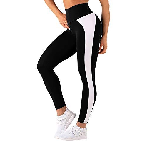 Usstore  Women Tight Yoga Pants High Waist Workout Leggings Fitness Sports Running Athletic Splice Sweatpants (XL, Black) ()