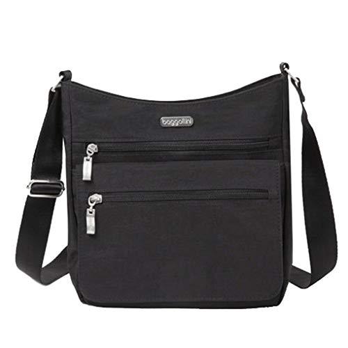 Baggallini Top Zip Flap Crossbody w Gusset, RFID Wristlet, Travel Perfect(Black)