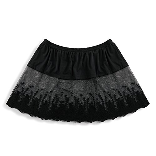 DEMDACO Black Sheer Floral Lace Women's Extra Large Stretch