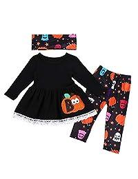 Tianhaik Girl Winter Clothes Halloween Outfits Pumpkin Top Dress Leggings Neckerchief Set