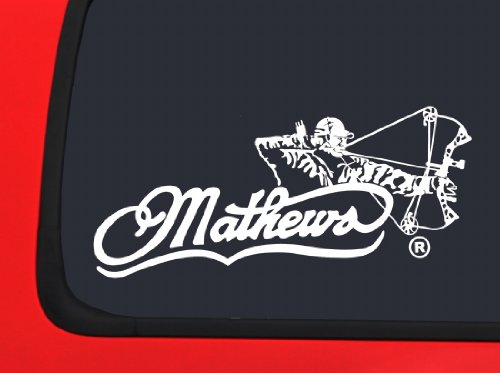 Mathews Archery with Bow Hunter Male - White Hunting window decal sticker